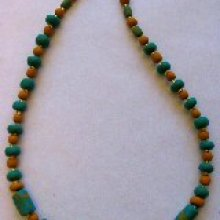 Collier perles turquoise ocre